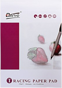 Bianyo Translucent 90 GSM Tracing Paper Pad - A4 Size, 50 Sheets Unruled A4 Layout Paper