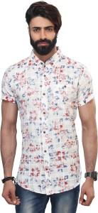 Vintage Soul Men's Floral Print Casual White Shirt