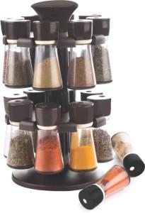 Divine 16 Pcs Revolig Spice Racks Set Light Brown 17 Piece Condiment Set