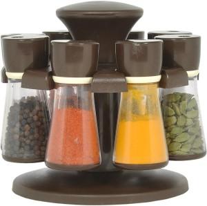 Divine 8 Pcs Revoling Spice Racks Set Brown 9 Piece Condiment Set