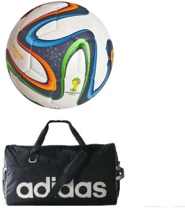 Retail World Brazuca Multicolor Football (Size-5) with Gym Duffle Bag Football Kit