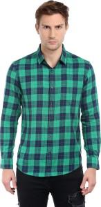Dennis Lingo Men's Checkered Casual Green, Dark Blue Shirt