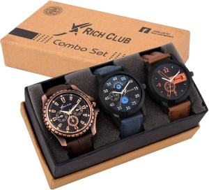 Rich Club Combo Of Three(Formal+Casual+Party Wear) Watch  - For Men