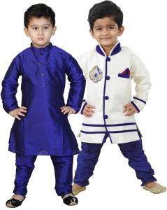 1902850e3 NIKUNJ Boys Festive Party Kurta and Pyjama Set Multicolor Pack of 4 ...