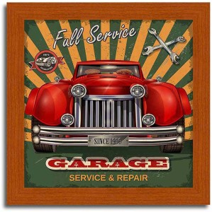 Garage-Vintage Car Brown Framed Poster Paper Print10 inch X 10 inch, framed