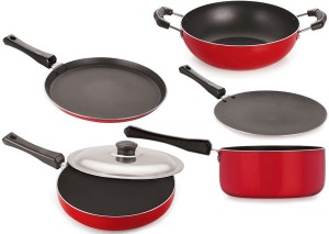 NIRLON Aluminium Cookware Set, Red & Black Tawa, Tawa, Pan, Kadhai, Pan Set