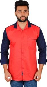 La Milano Men's Solid Casual Orange, Dark Blue Shirt