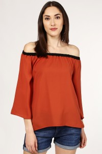 SASSAFRAS Casual 3/4th Sleeve Color Blocked Women's Brown, Black Top