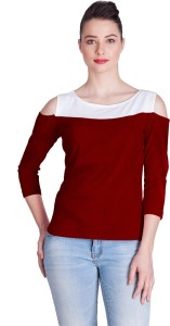 Vea Kupia Party 3/4th Sleeve Solid Women's Maroon, White Top