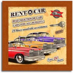 Rent a Car-Vintage Car Brown Framed Poster Paper Print10 inch X 10 inch,  framed