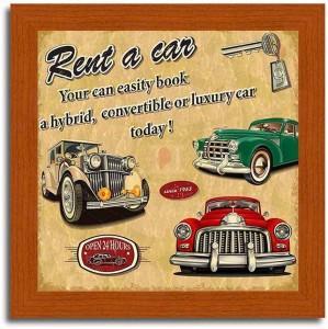 Rent a Car- Vintage Car Brown Framed Poster Paper Print10 inch X 10 inch,  framed