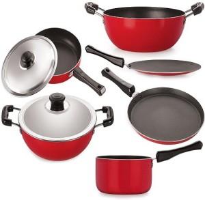 NIRLON Aluminium Cookware Set, 6-Pieces Cookware Set, Red & Black Pan, Kadhai, Tawa Set