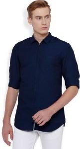 Locomotive Men's Solid Casual Dark Blue, Blue Shirt