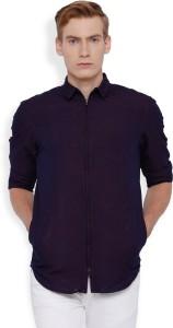 Locomotive Men's Solid Casual Dark Blue, Maroon Shirt