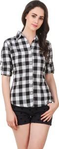 Pour Femme Women's Checkered Casual Black, White Shirt