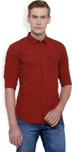 Locomotive Men's Solid Casual Red Shirt