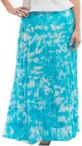 Indicot Printed Women's Layered Light Blue Skirt