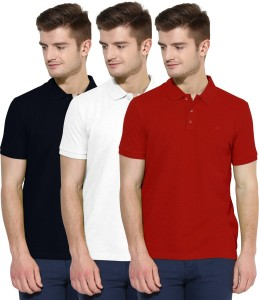 d02b9362 Polo Nation Solid Men s Polo Neck Red White Dark Blue T Shirt Pack ...