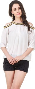 Pour Femme Party 3/4th Sleeve Embroidered, Stylised, Embellished Women's White Top