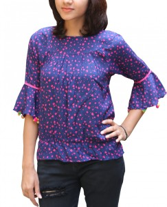 monic wears Party 3/4th Sleeve Printed Women's Blue Top