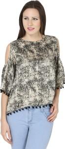 Naisha Casual Shoulder Strap Self Design Women Black, Beige Top