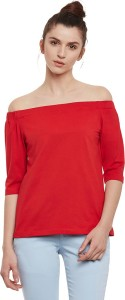 Miss Chase Casual 3/4th Sleeve Solid Women's Red Top