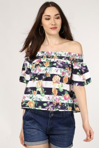 SASSAFRAS Casual Half Sleeve Floral Print, Striped Women's Multicolor Top