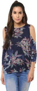 Harpa Casual 3/4th Sleeve Floral Print Women's Dark Blue Top