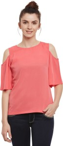 Miss Chase Casual Half Sleeve Solid Women's Pink Top