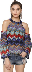 Marzeni Party Bell Sleeve Chevron Women's Multicolor Top
