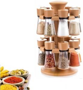 Divine 16 Pcs Revoling Spice Racks Set Brown Condiment Set
