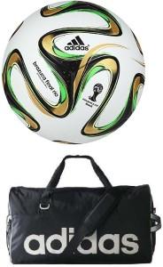 Retail World Brazuca Rio Football (Size-5) with Gym Duffle Bag Football Kit