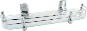 RIC809 Long Hard Brackets White Pattern18 by 5 inch Glass Wall Shelf