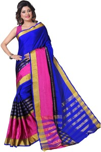 Dream Beauty Fashion Striped Bollywood Cotton Saree