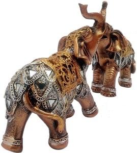 art n hub elephant couple wild animal fengshui statue handicraft