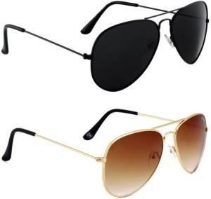 ce0227698c Aligatorr Combo Pack of 2 Aviator Sunglasses Black Brown Best Price in  India