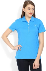 8e85f3cce1f Puma Solid Women s Polo Neck Blue T Shirt Best Price in India