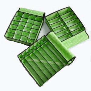 EmpireDeals Set of 3 - Non Smell Storage Box Organisers for Tie Shoes Socks Scarfs Lingerie Bra - With Cover -