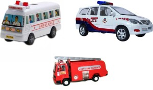 RMA Centy Toys Emergency Services Series : Fire Brigade, Ambulance and  Police CarBlue, Yellow, Red