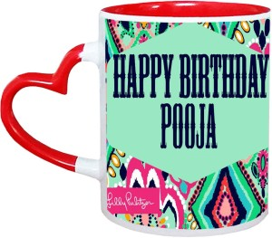 Muggies Magic Pooja Name Happy Birthday Gift Ceramic Mug325 Ml