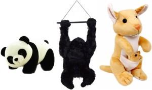 RMA Australia Wild Animals Combo - Panda, Kangaroo(with baby) and Gorilla  - 32 cm