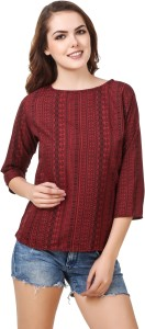 Delux Look Casual 3/4th Sleeve Printed Women's Red Top