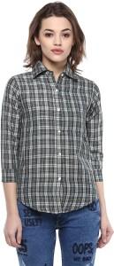 Mayra Women's Checkered Casual Grey Shirt
