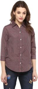 Mayra Women's Checkered Casual Purple Shirt