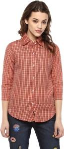 Mayra Women's Checkered Casual Orange Shirt