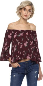 Harpa Casual 3/4th Sleeve Floral Print Women's Maroon Top