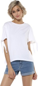 Harpa Casual Short Sleeve Solid Women's White Top
