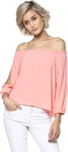 Harpa Casual 3/4th Sleeve Solid Women's Pink Top