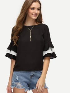 Divinity Casual Bell Sleeve Solid Women's Black Top