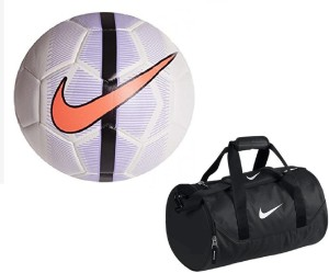c323d10549 Retail World Mercurial Veer White Purple Football Size 5 with Gym Duffle Bag  Combo Football Kit Best Price in India